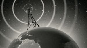stock-footage-an-old-fashioned-graphic-of-an-antenna-transmitting-a-signal-around-the-world-with-audio